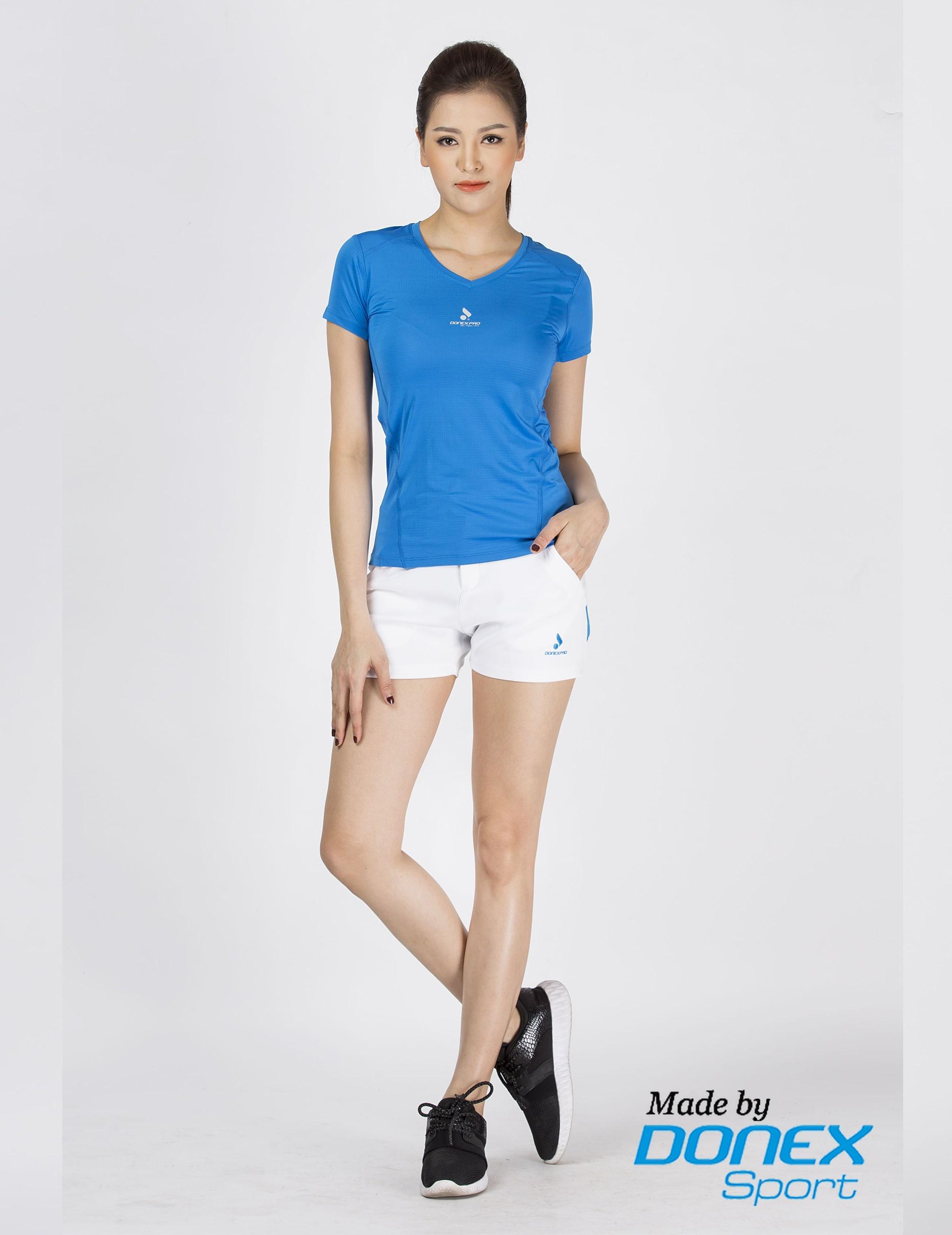 Áo thể thao nữ AC-3364 xanh cô ban phối ghi