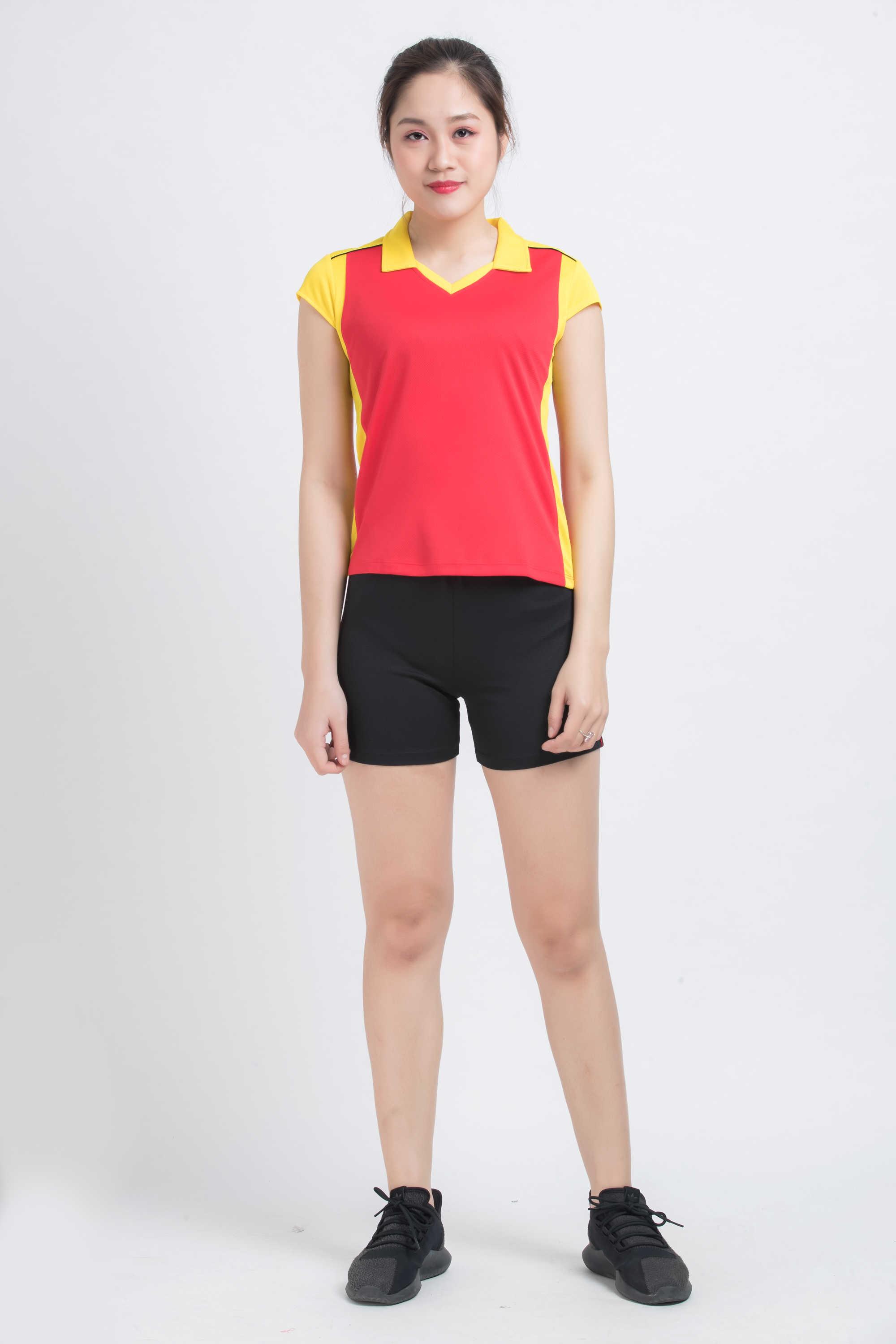Bộ bóng chuyền nữ ACB-5130 - Đỏ phối vàng