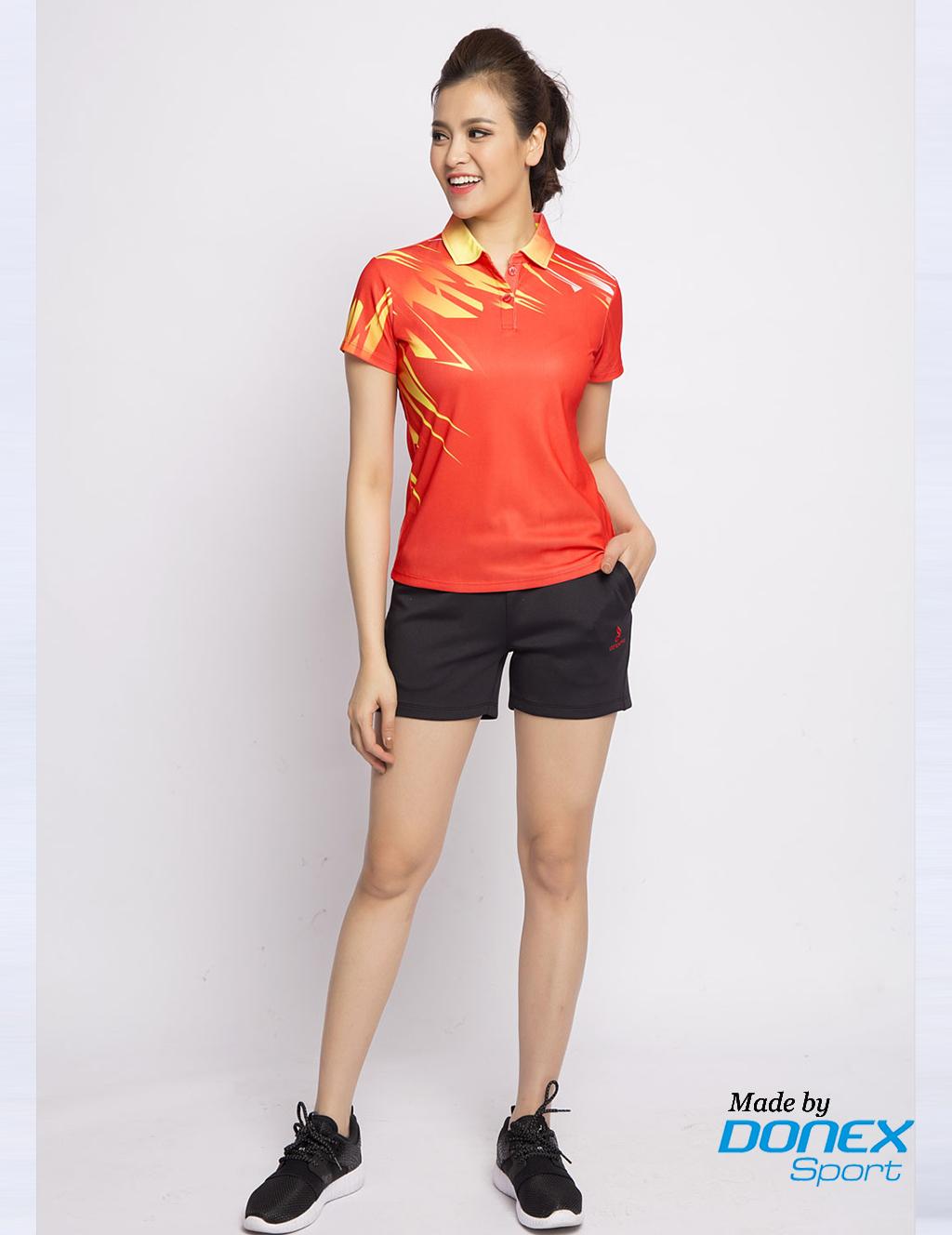 Áo thể thao nữ AC-3352 - Đỏ phối vàng