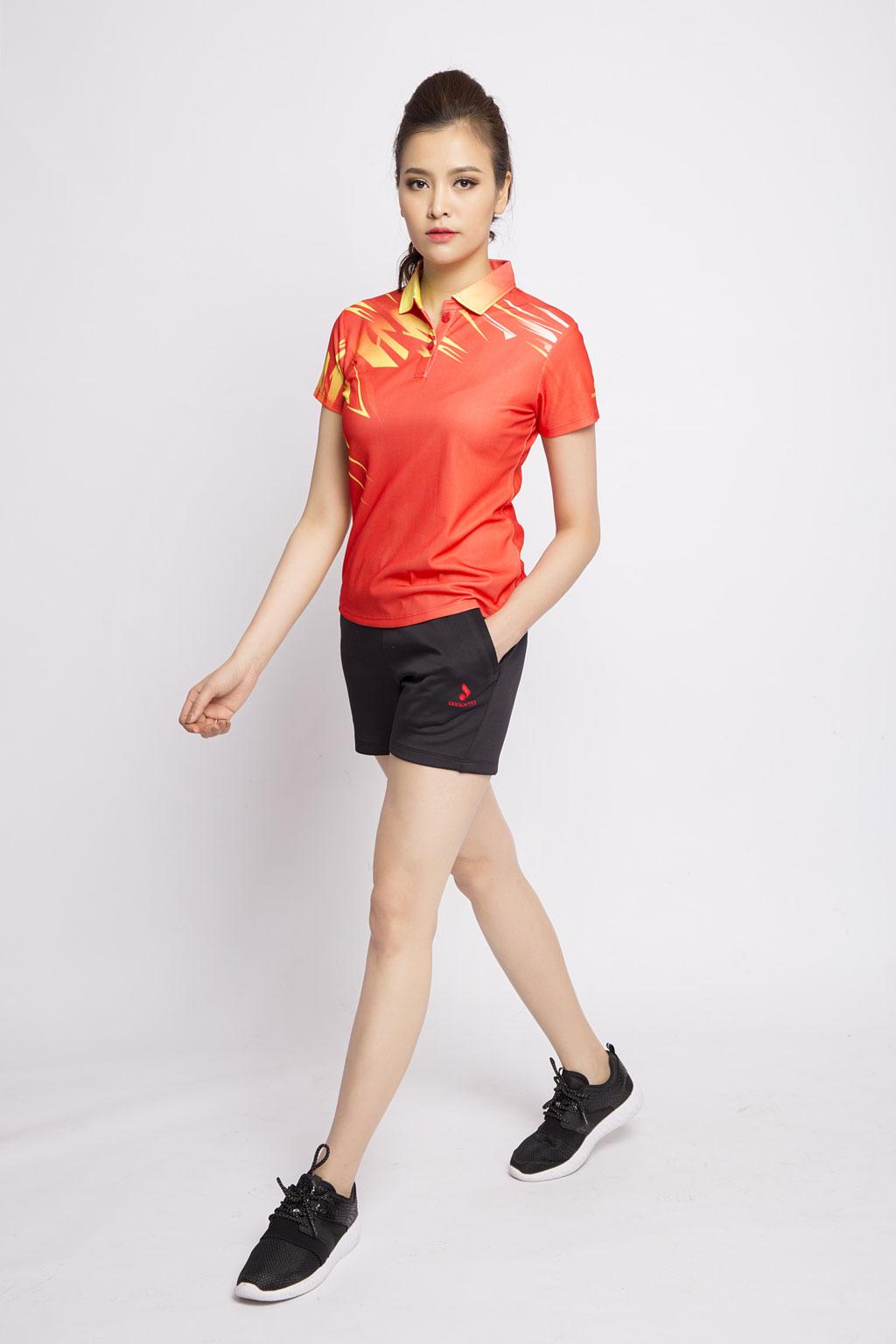 Quần thể thao nữ ASC-861 đen phối đỏ