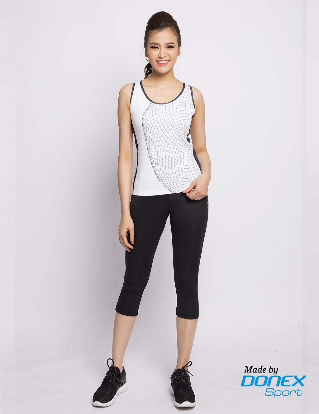 Áo thể thao nữ AC-3350 trắng phối đen