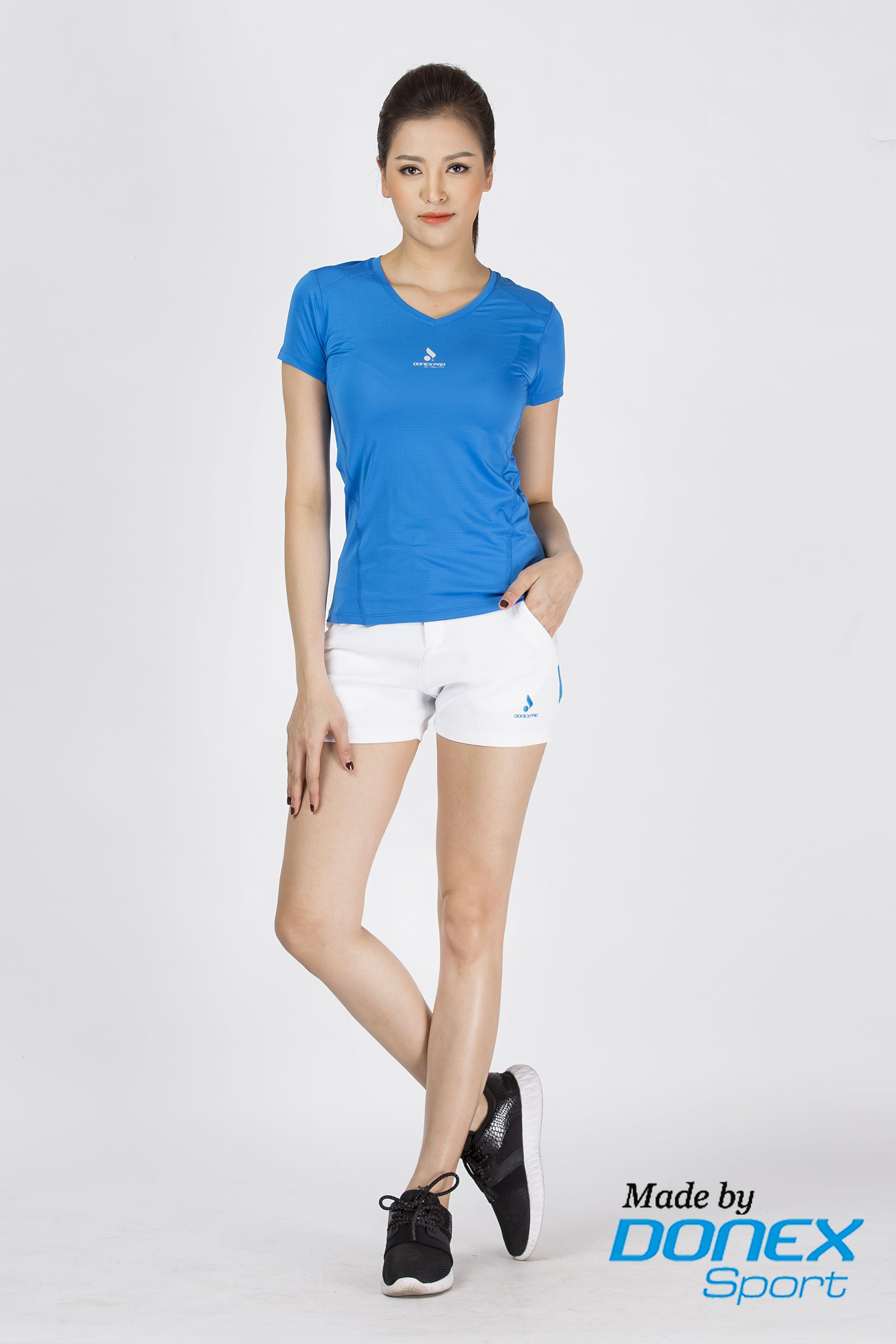 Quần thể thao nữ ASC 858- Trắng phối xanh copan