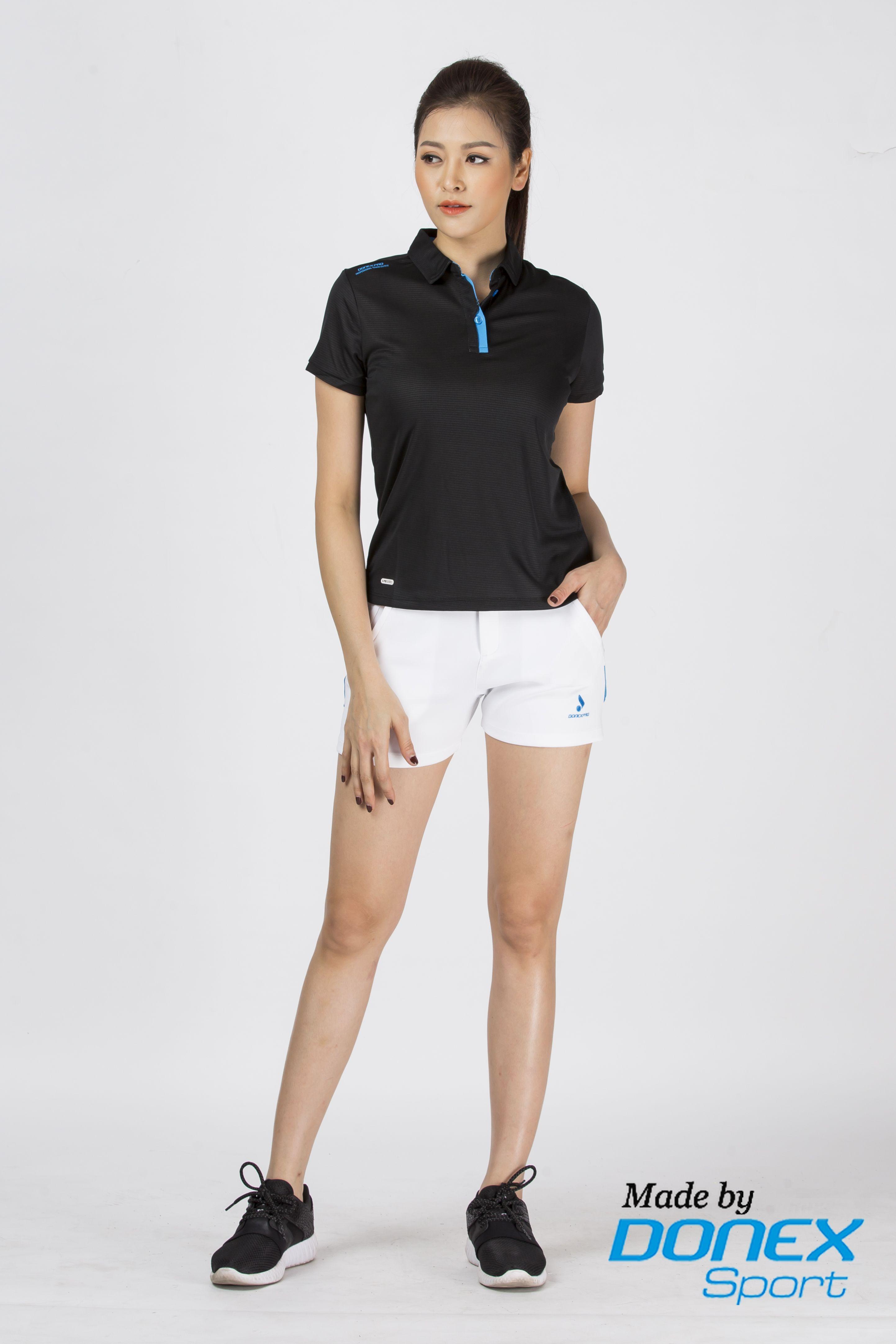 Áo thể thao nữ AC-3346-08-02 đen phối xanh cô ban