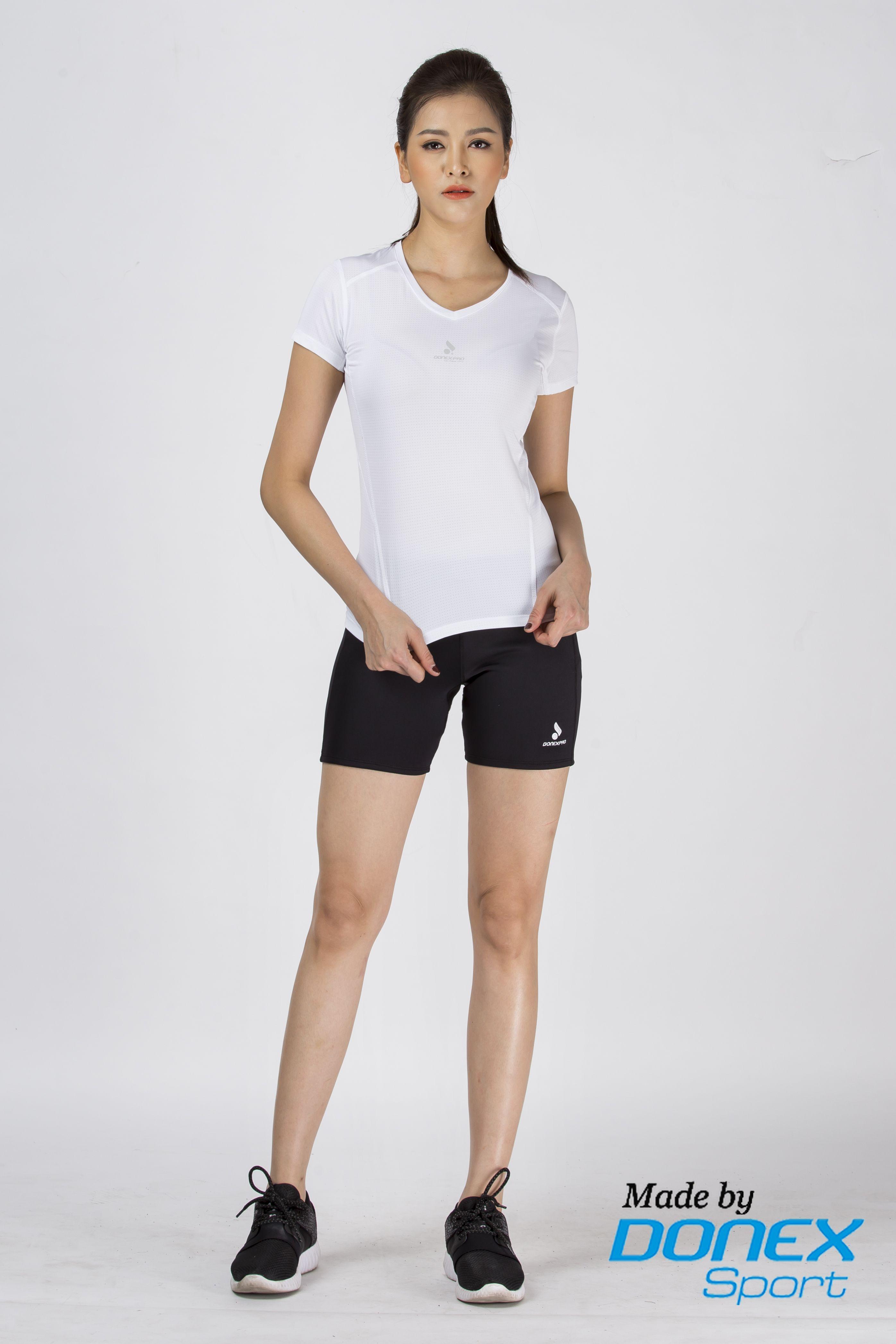 Quần thể thao nữ ASC-859 - Đen phối trắng